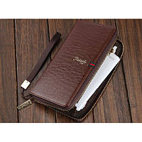 Мужской стильный портмоне клатч  PIDANLU TOP коричневого цвета