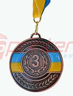 Медаль наградная с лентой 3 место (бронза), d-6,5 см.
