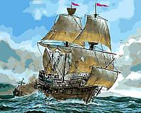 """Картина раскраска по номерам """"Сражение кораблей"""" набор для рисования"""