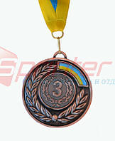 Медаль наградная с лентой 3 место (бронза),d-6,5 см.