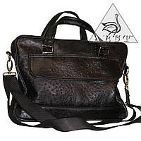 Мужская сумка из  натуральной кожи страуса