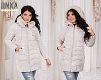 Зимняя женская куртка на молнии, батал