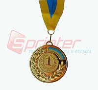 Медаль наградная с лентой 1 место (золото), d-6,5 см
