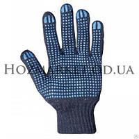 Перчатка рабочая хб Синяя с ПВХ плотная