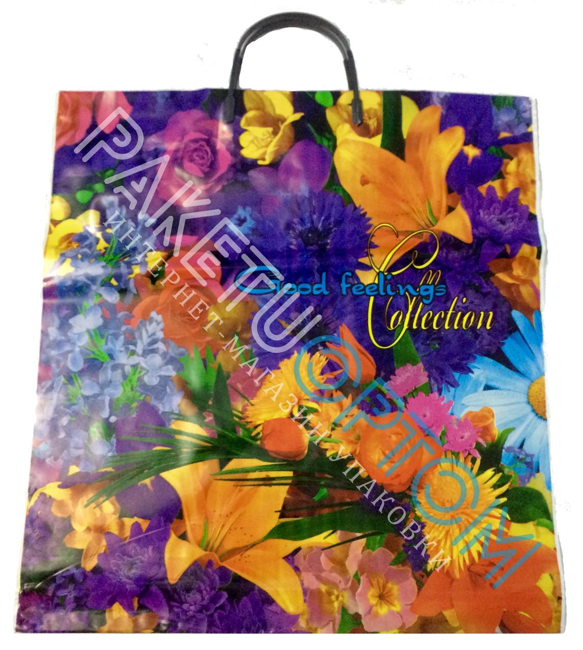 """Пакет с пластиковой ручкой (пакет-пластик) """"Цветы"""""""