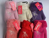 """Варежки """"Корона"""" для девочек от 3-5 лет разные цвета 12 пар в упаковке"""