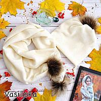 Женский комплект: шапка с шарфом, с бубонами из натурального меха, в расцветках