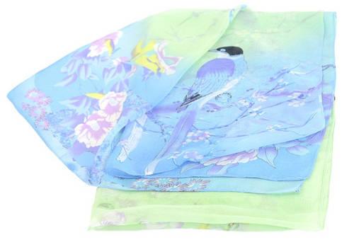 Воздушный шифованый шарф женский Trаum 2495-24, 45х150 см, цвет голубой.