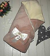 """Зимний конверт одеяло """"Метелица"""" на выписку из роддома, на овчине. Цвет капучино"""