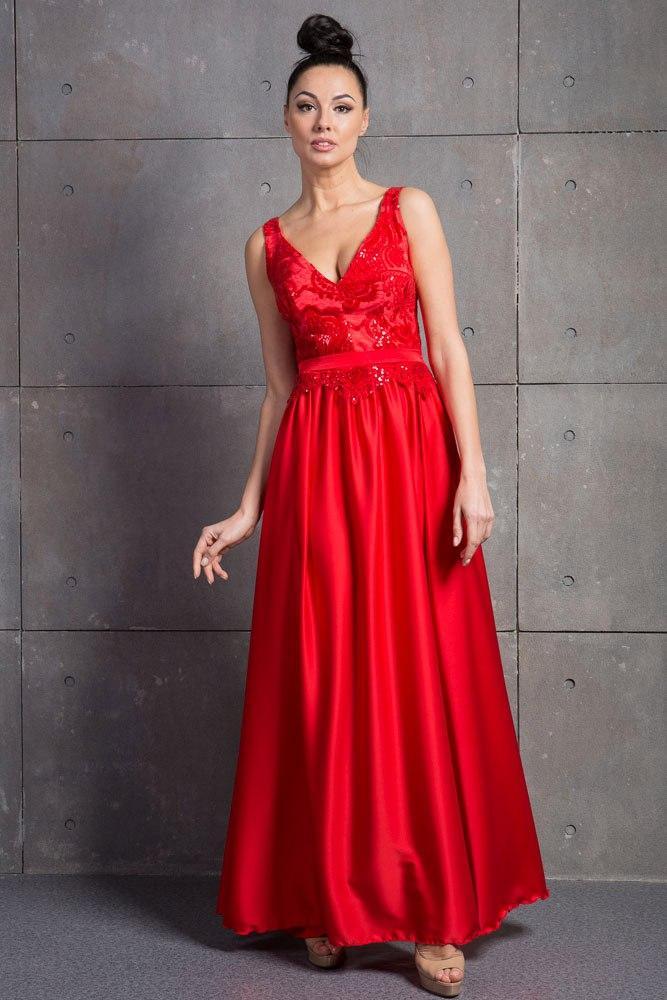 Красное вечернее платье в пол (выпускное)