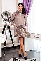 Бежевое женское демисезонное пальто В-1060 Seul Jaco Тон 7510 44-52 размер