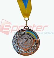 Медаль наградная с лентой 2 место (серебро), d-6,5 см.