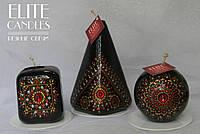 Набор расписных свечей в золото-красном цвете