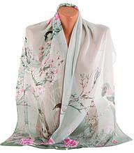 Нежный шарф женский, шифон,45х150 см, Trаum 2495-27, серый.
