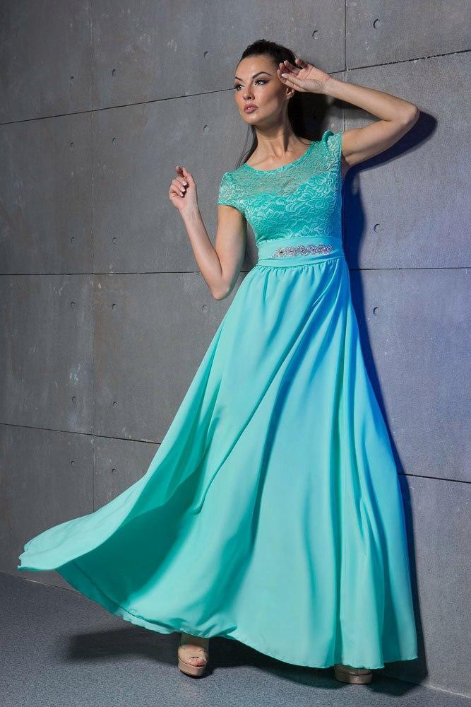 Прокат! Вечернее платье макси в бирюзовом цвете.