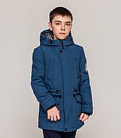 Стильная осенняя куртка Парка Эштон на мальчика  Размер 128- 152 Цвет джинс