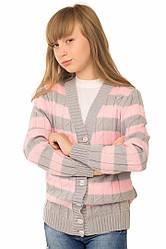 """Теплая шерстяная кофта """"Вивьен"""", для девочки, цвет серый с розовым, на рост 128 см"""