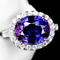 """Потрясающий  перстень """"Ультрафиолет"""" с  пурпурным и белыми сапфирами, размер 17,3 студия LadyStyle.Biz"""