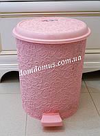 """Ведро с педалью """"Ажур"""" 16 л Elif Plastik, Турция, розовое"""