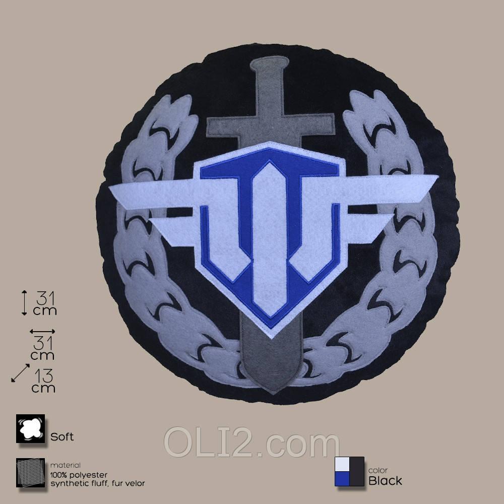 Декоративная подушка, лого игры «World of Warplanes», круглая.