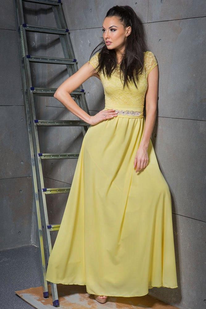 Аренда! Длинное шифоновое платье жёлтого цвета.
