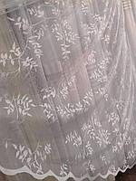 Жаккардовый тюль с растительным принтом, высота 2,6м