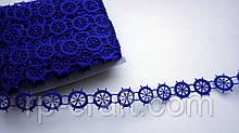 Тасьма декоративна з елементів, штурвали сині, 20 мм