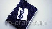 Тасьма декоративна з елементів, штурвали темно-сині, 20 мм