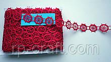 Тасьма декоративна з елементів, штурвали червоні, 20 мм