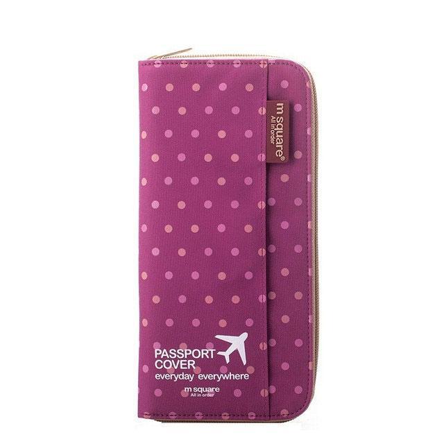 Кардхолдер для путешествий розовый в горошек