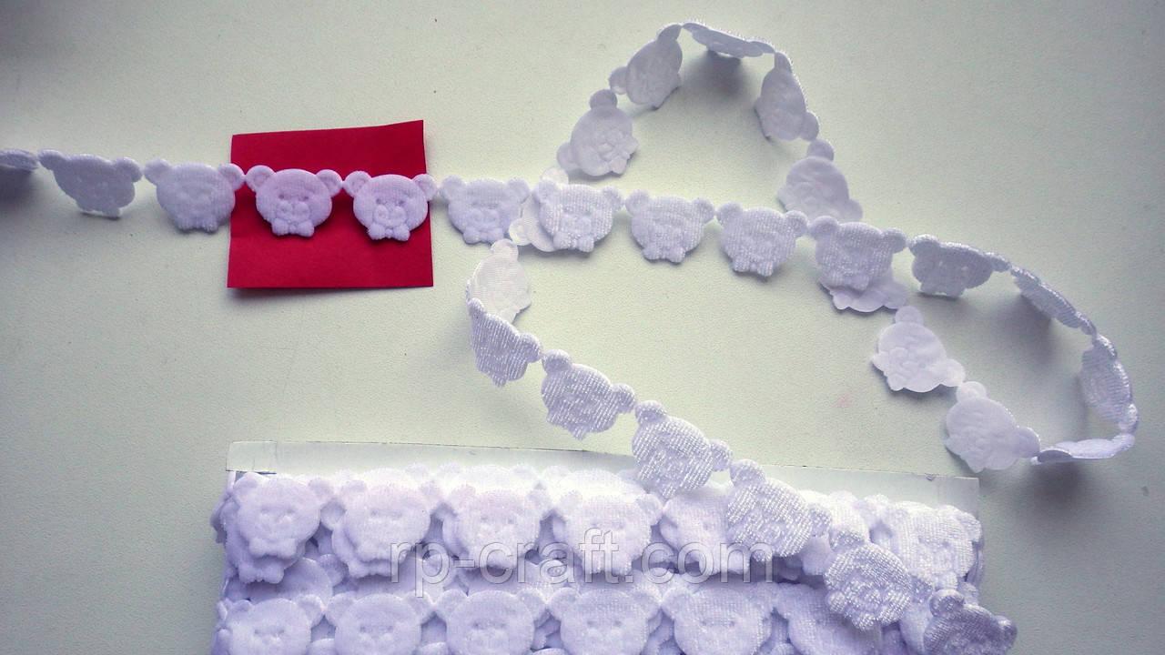 Тесьма декоративная из элементов, голова мишки, белая, 17х25 мм
