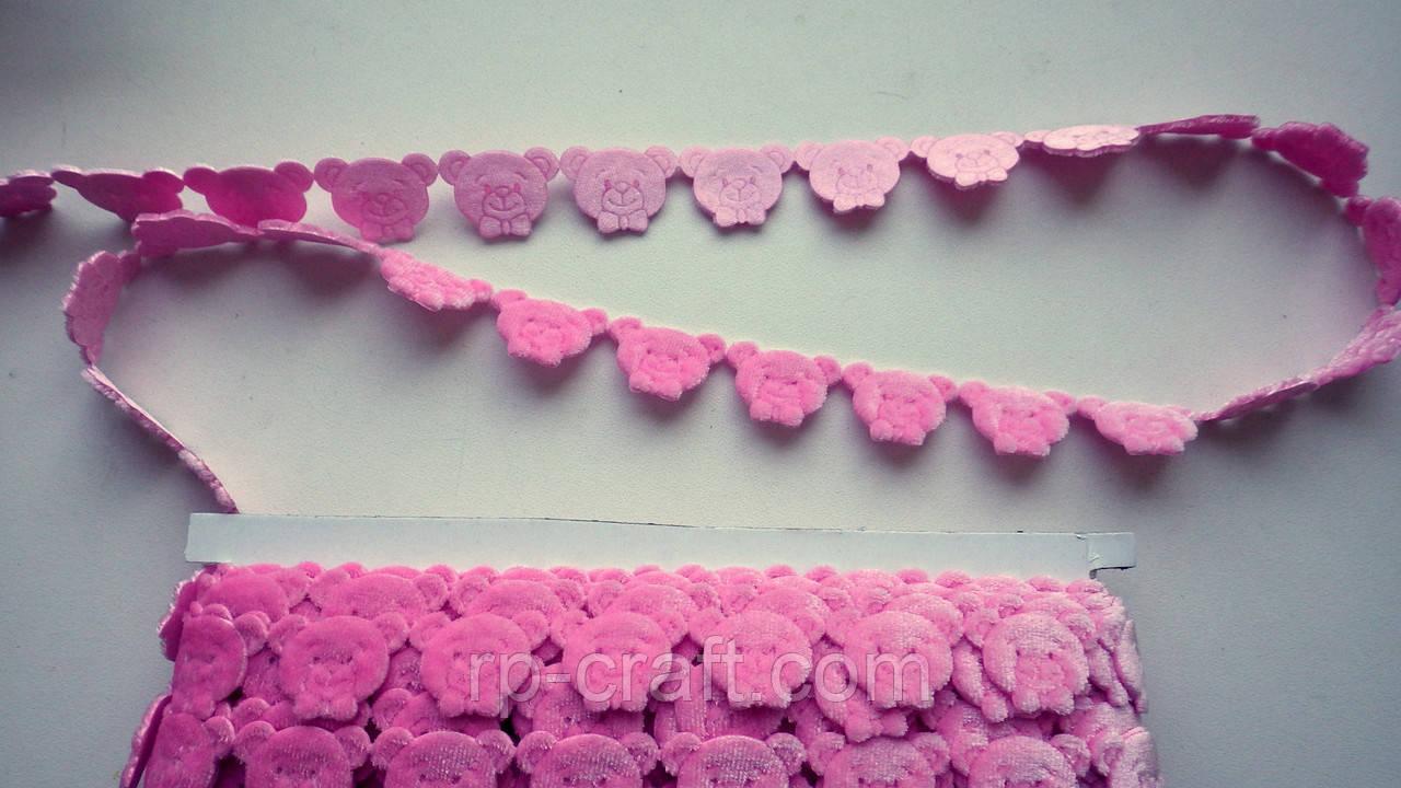 Тесьма декоративная из элементов, голова мишки, розовая, 17х25 мм