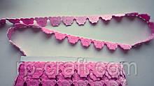 Тасьма декоративна з елементів, голова ведмедики, рожева, 17х25 мм