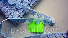 Тасьма декоративна з елементів, голова ведмедики, блакитна, 17х25 мм