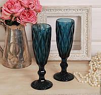 """Бокалы из цветного стекла для шампанского"""" Кубок"""" изумруд синий. Цветные бокалы, винтажные бокалы для вина"""