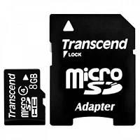 Карта памяти   micro-SDHC 8Gb Transcend Class 4