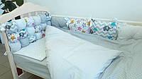 Комплект постельного белья для новорожденных «Joy» комбинированный (6 ед.) серый