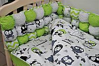 Комплект  в детскую кроватку «Joy» бонбон (6 ед.) серый или салатовый