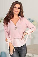 Женская блузка обманка с глубоким вырезом и завязках на рукавах