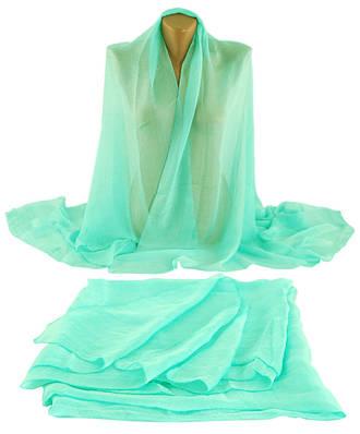 Нежная шаль-парео, шифон, 150х100 см,  Trаum 2495-42, цвет голубой.