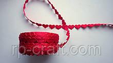 Тасьма декоративна з елементів, серце червоне, 13х17 мм