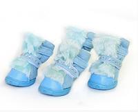 Теплые ботинки для собак -Голубой-№1