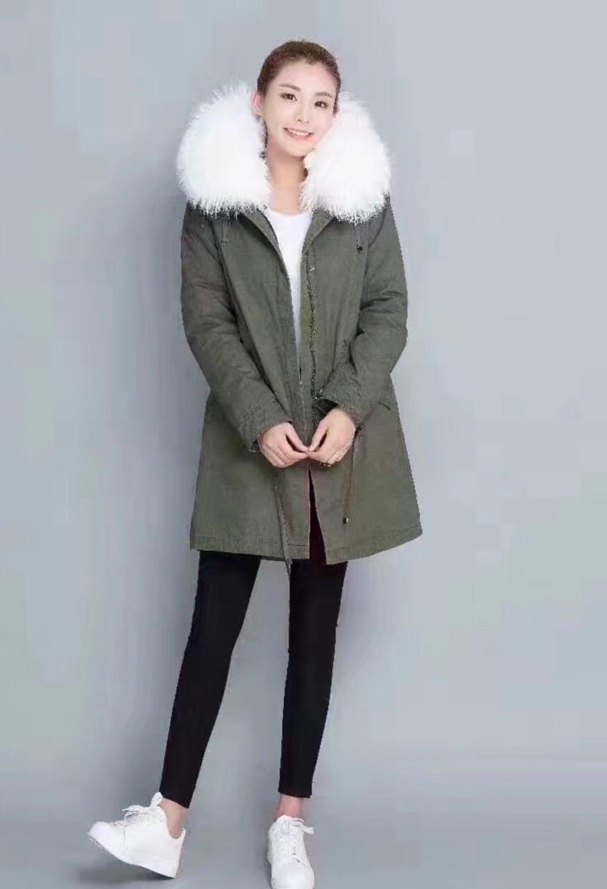Парка женская (куртка, курточка)  Mr & Italy с натуральным белым мехом