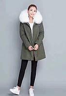 Парка женская (куртка, курточка)  Mr & Italy с натуральным белым мехом, фото 1