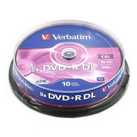 Диск Verbatim 8.5Gb - 8x    DVD+R  (cake  10)   double layer