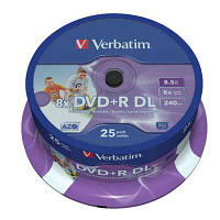 Диск Verbatim 8.5Gb - 8x    DVD+R  (cake 25)   double layer Printable