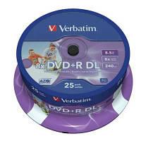 Диск Verbatim 8.5Gb - 8x    DVD+R  (cake 25)   double layer Printable
