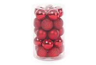 Набор елочных шаров красний, 3см, 25 шт