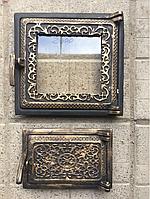 Дверца для печи и барбекю Спарка раздельная, печная дверца со стеклом