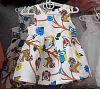Белое платье с интересным принтом для девочки (2-6 лет)